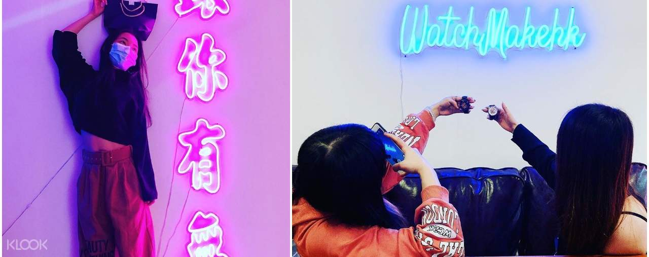 Take instagramable photos with your final product in front of the neon light walls