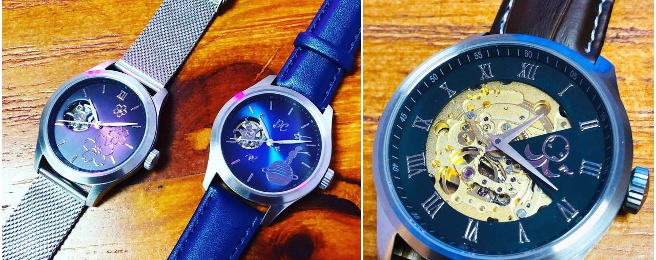 Sample of finished Tourbillon (left) and Japanese mechanical watch (right)