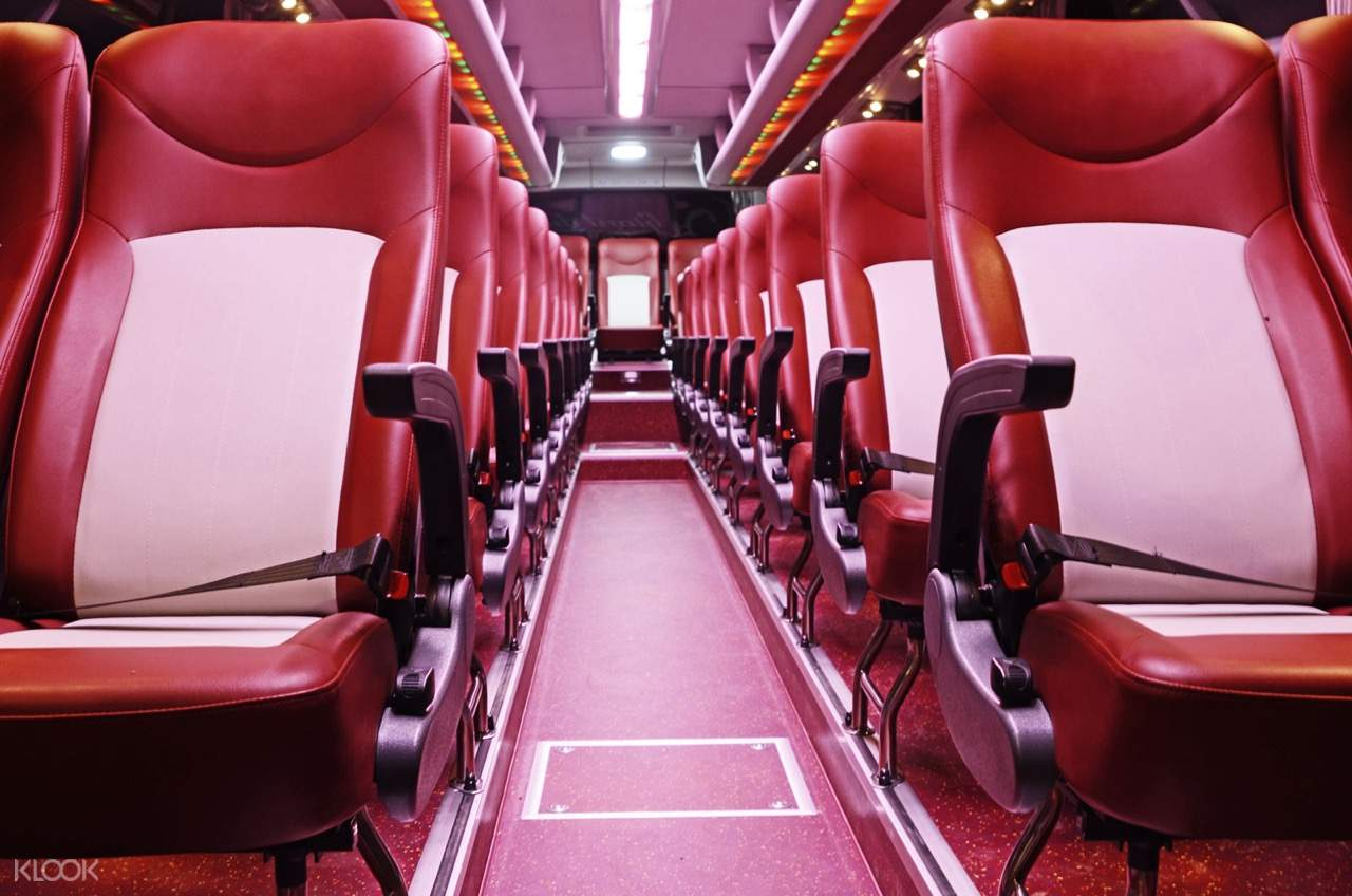 interior of bus transfer to Phnom Penh or Sihanoukville by Giant Ibis