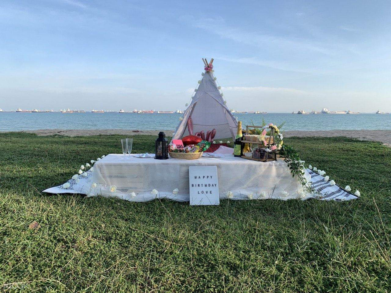 Picnic setup with teepee