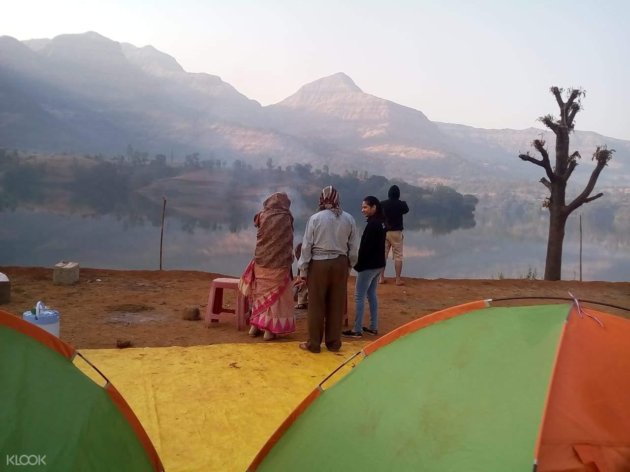 tents and lake