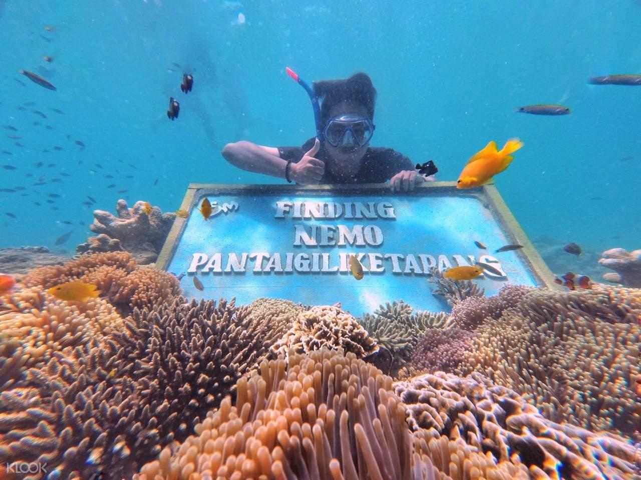wisatawan berpose di lokasi snorkeling finding nemo