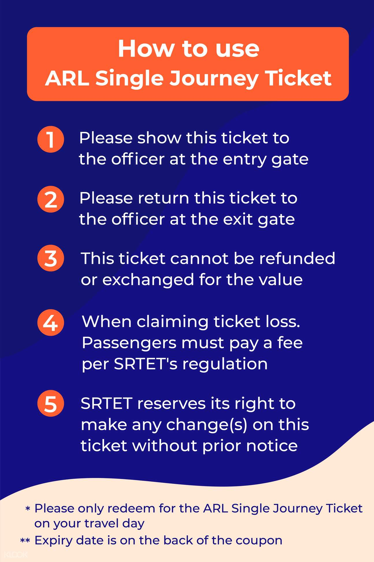 how to use ARL single journey ticket
