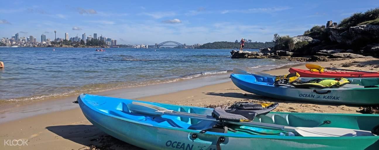 kayaks on the beachside