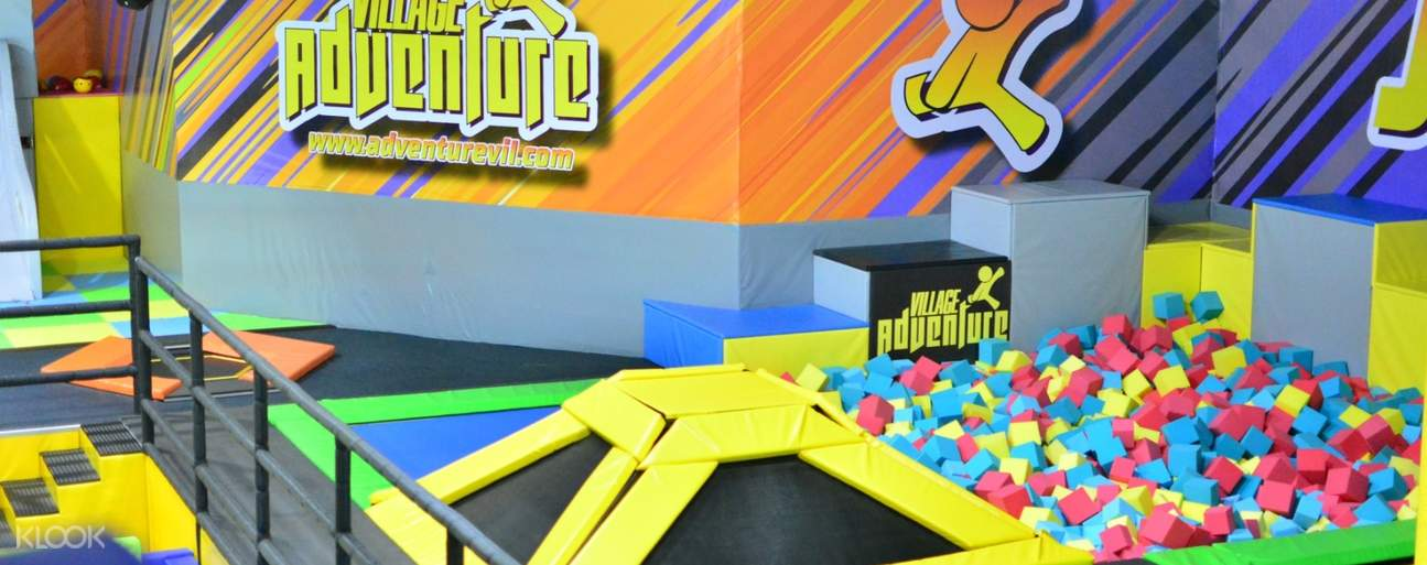 trampolines and soft cube pit