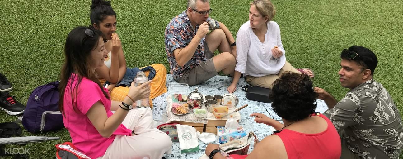 tourists having a picnic