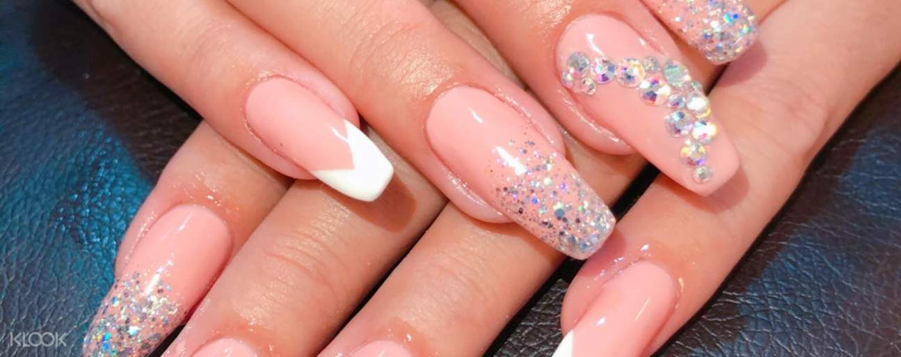 gel nail extension with jewels