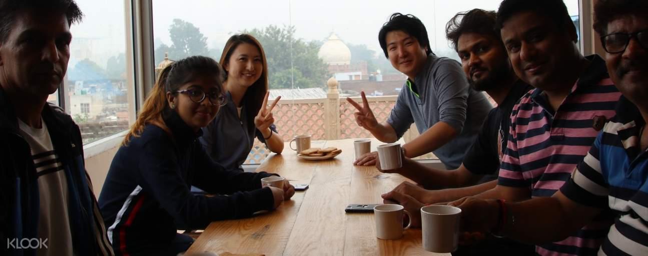 tourists having tea