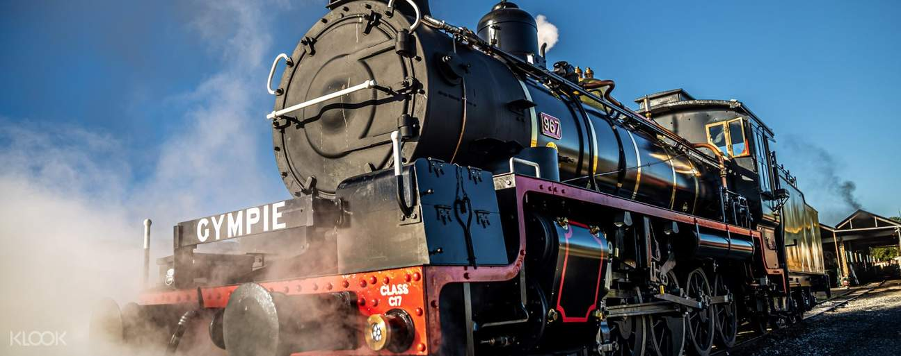 Gympie Mary Valley Rattler Train with steam coming out
