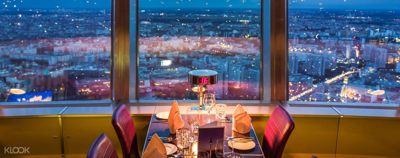 couple having dinner in berlin tv tower