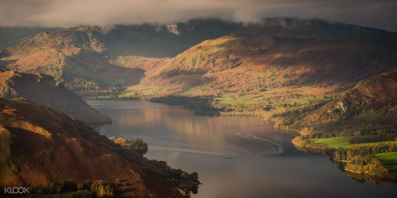 aerial view of entire ullswater valley