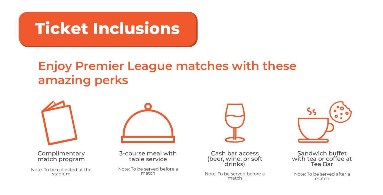 chelsea premiere league match ticket inclusions