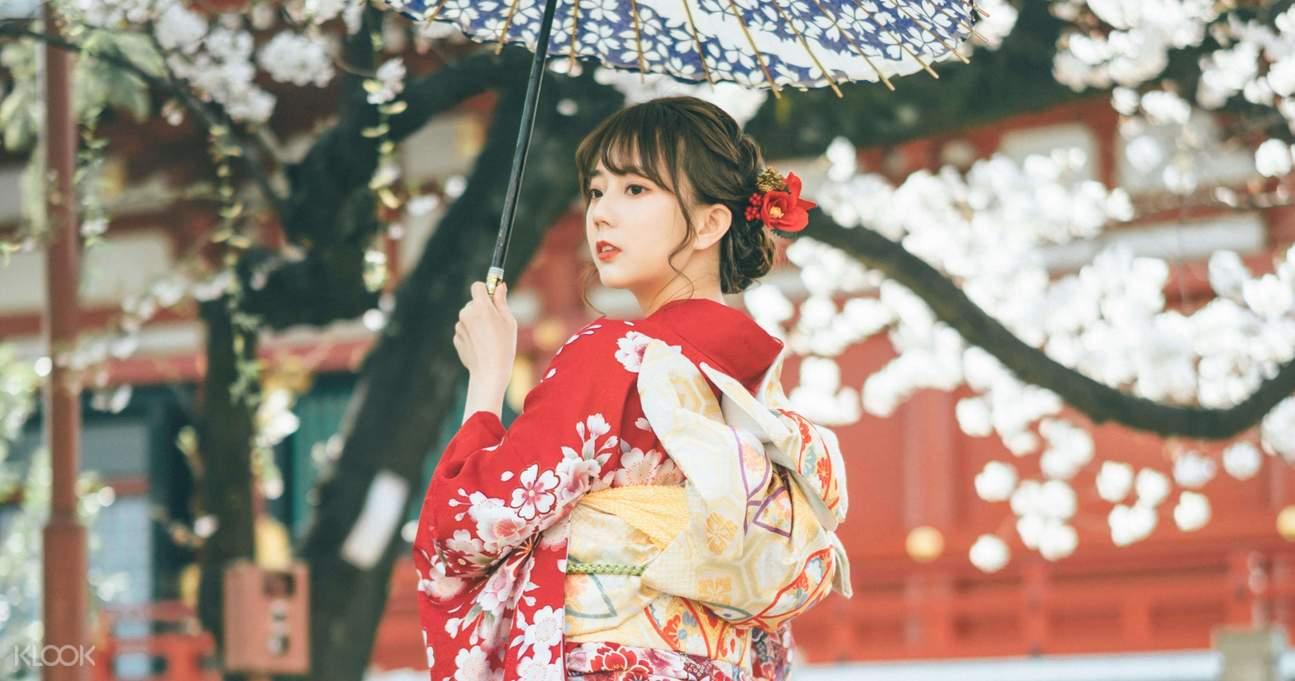 beautiful tourist in kimono