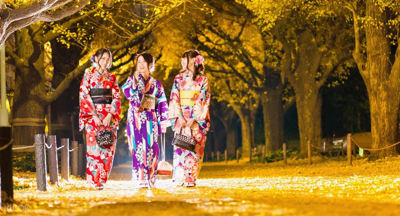 group of friends taking a stroll in Kimono