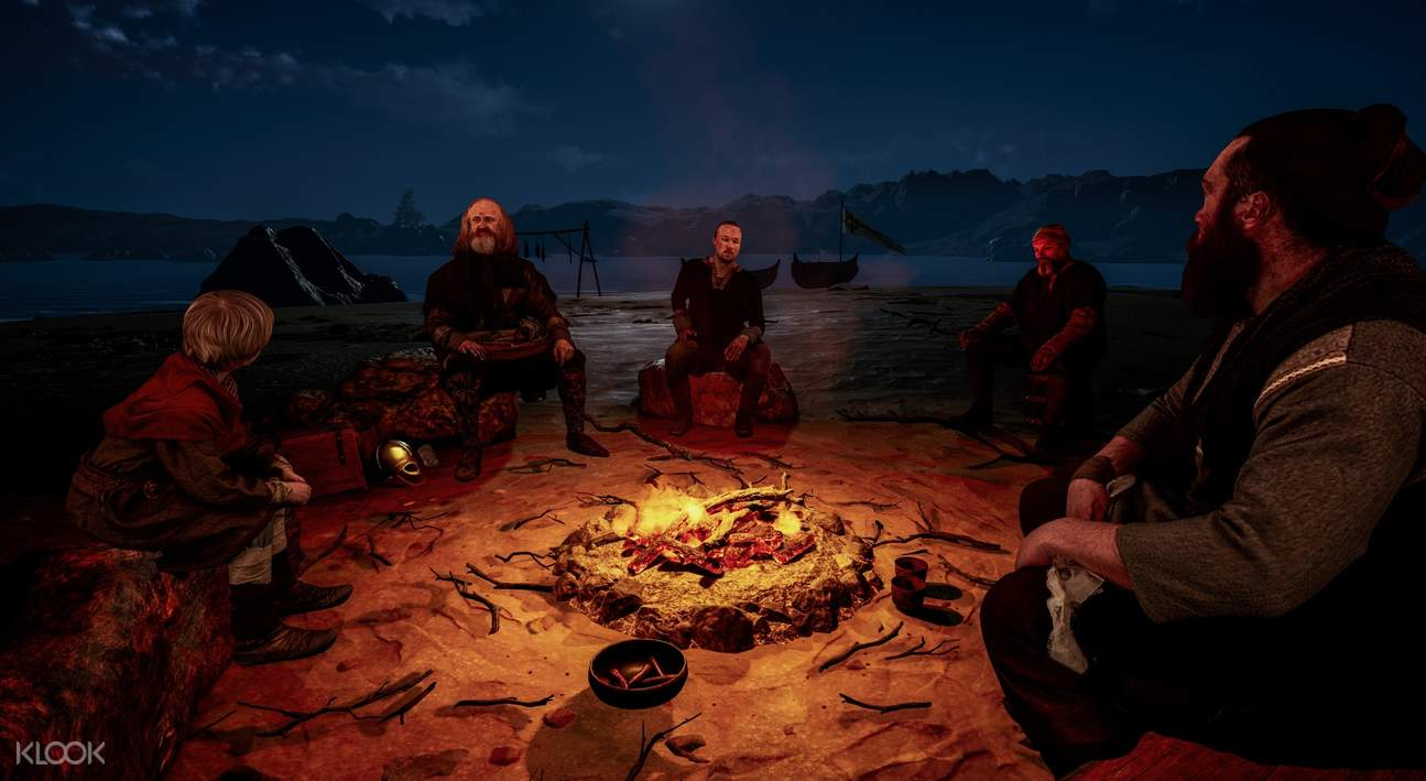 Animated Vikings around campfire in The Viking Planet Digital Museum Oslo