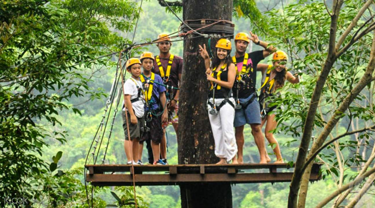 tourists ziplining in flying hanuman in phuket