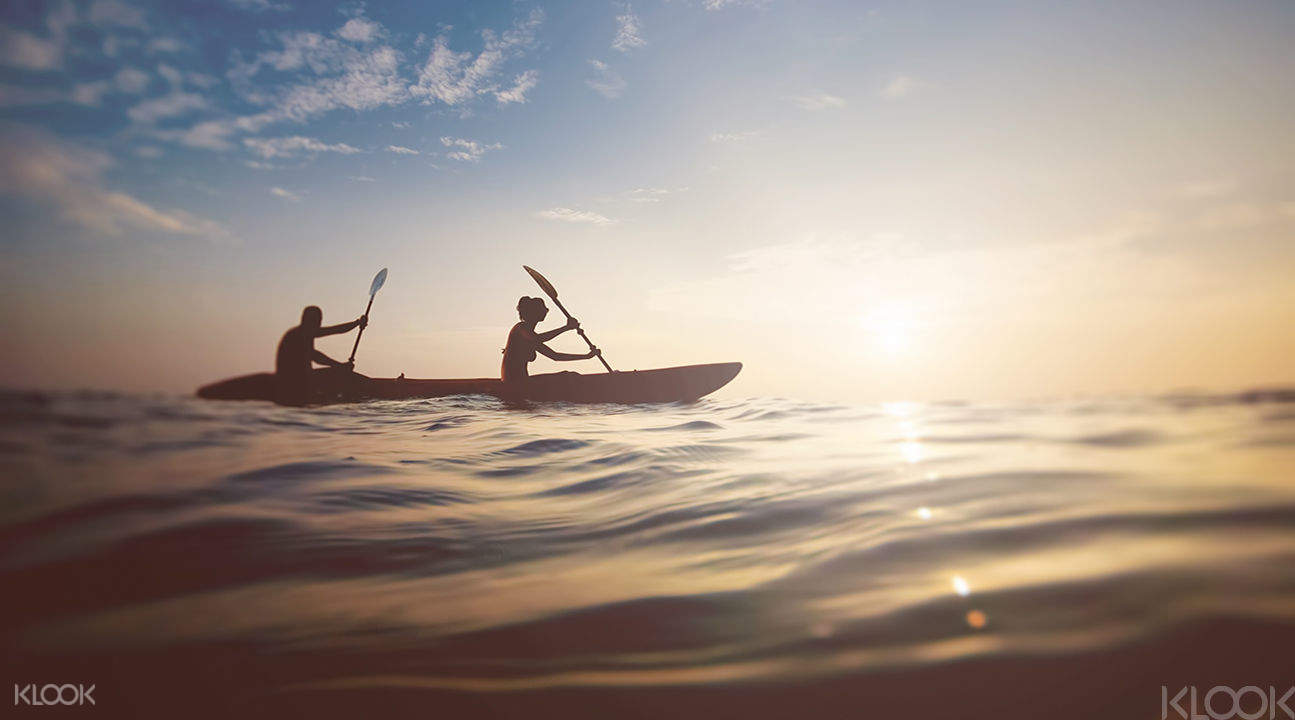 two persons kayaking with a view of the sun