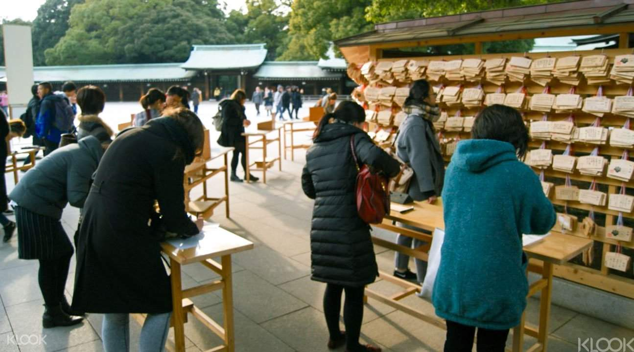 Praying at Meiji Shrine