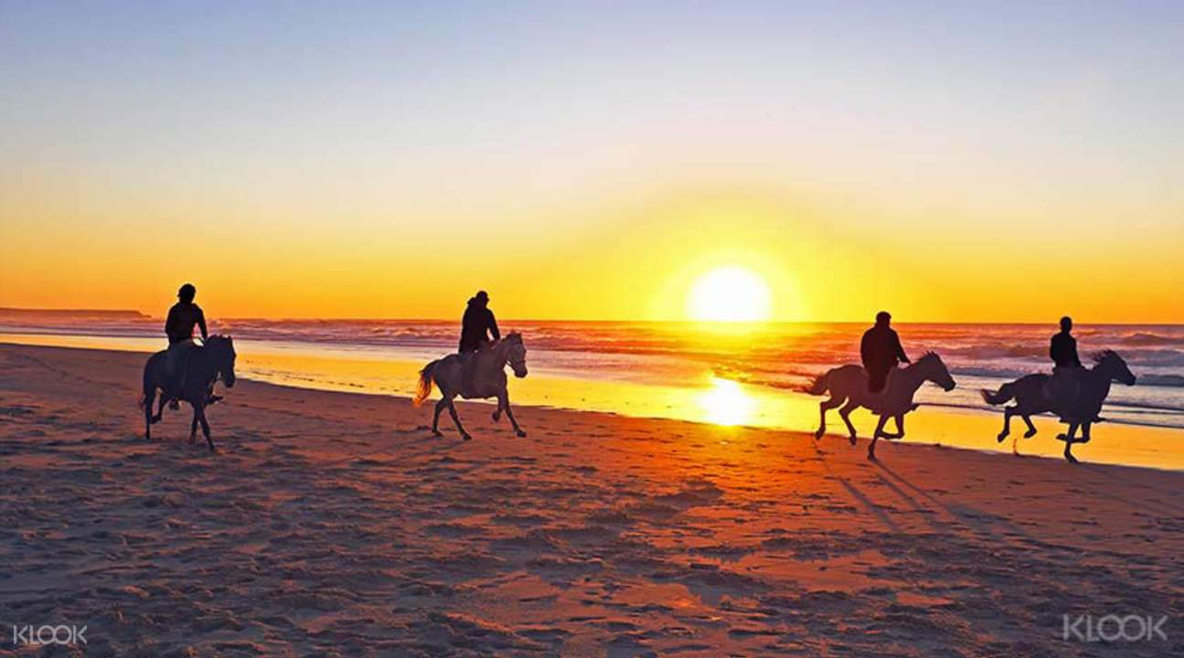 Horseback riding on the beach at sunset