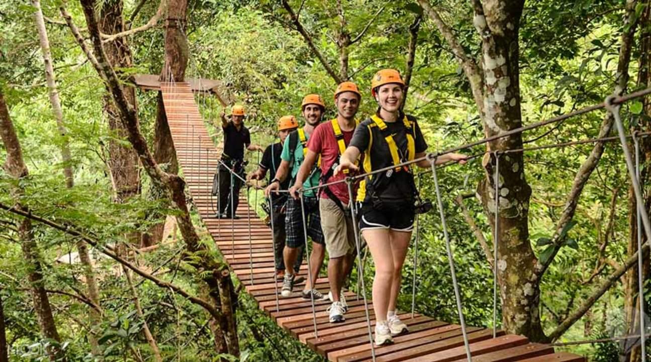飛越叢林中的架空吊橋