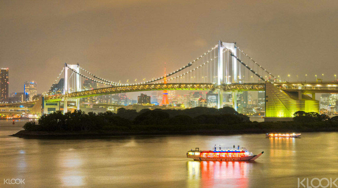 Tokyo Bay on this tokyo bay dinner cruise