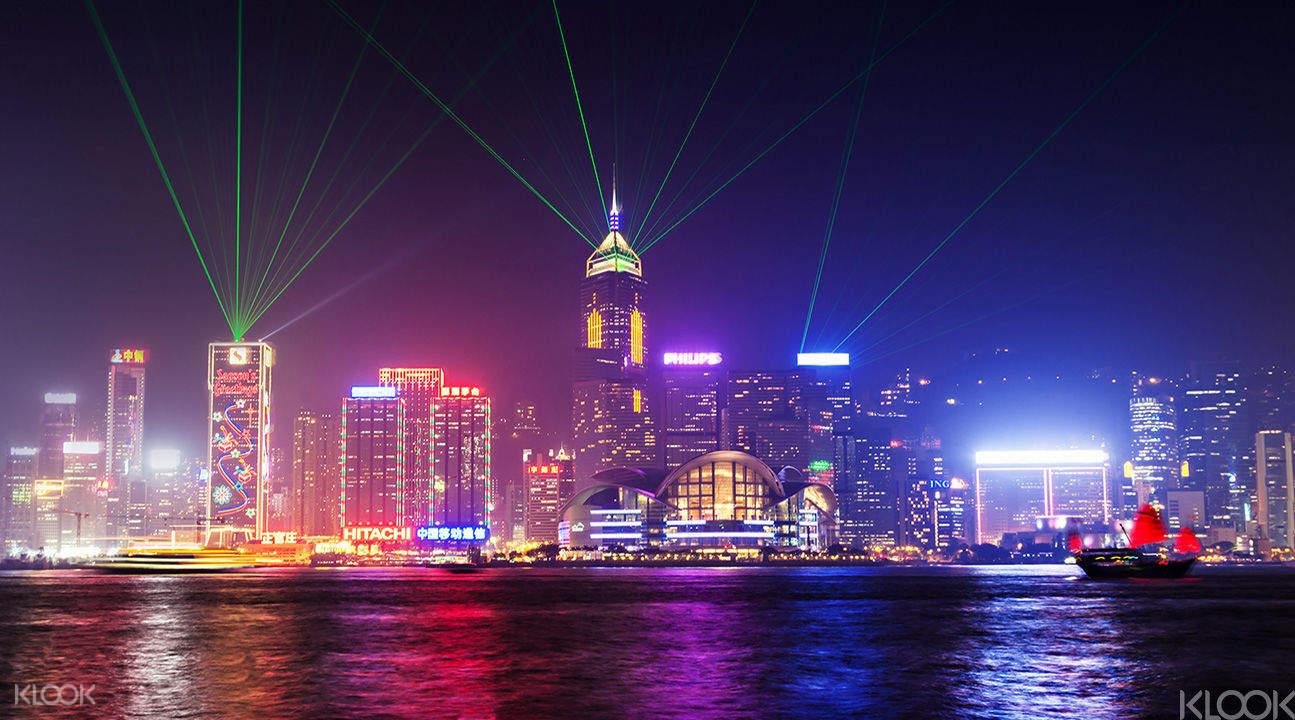 幻彩咏香江维多利亚港夜景