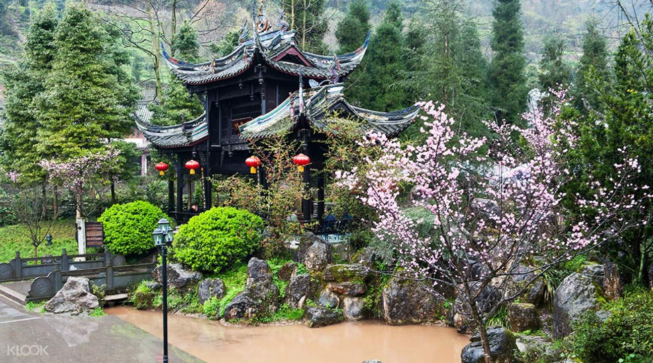a Taoist temple with gorgeous flora surrounding it