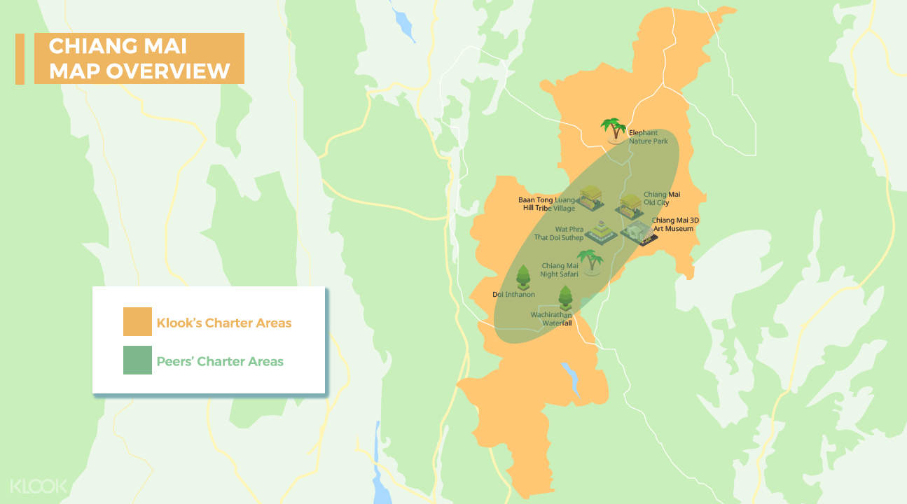 map for the chiang mai custom tour