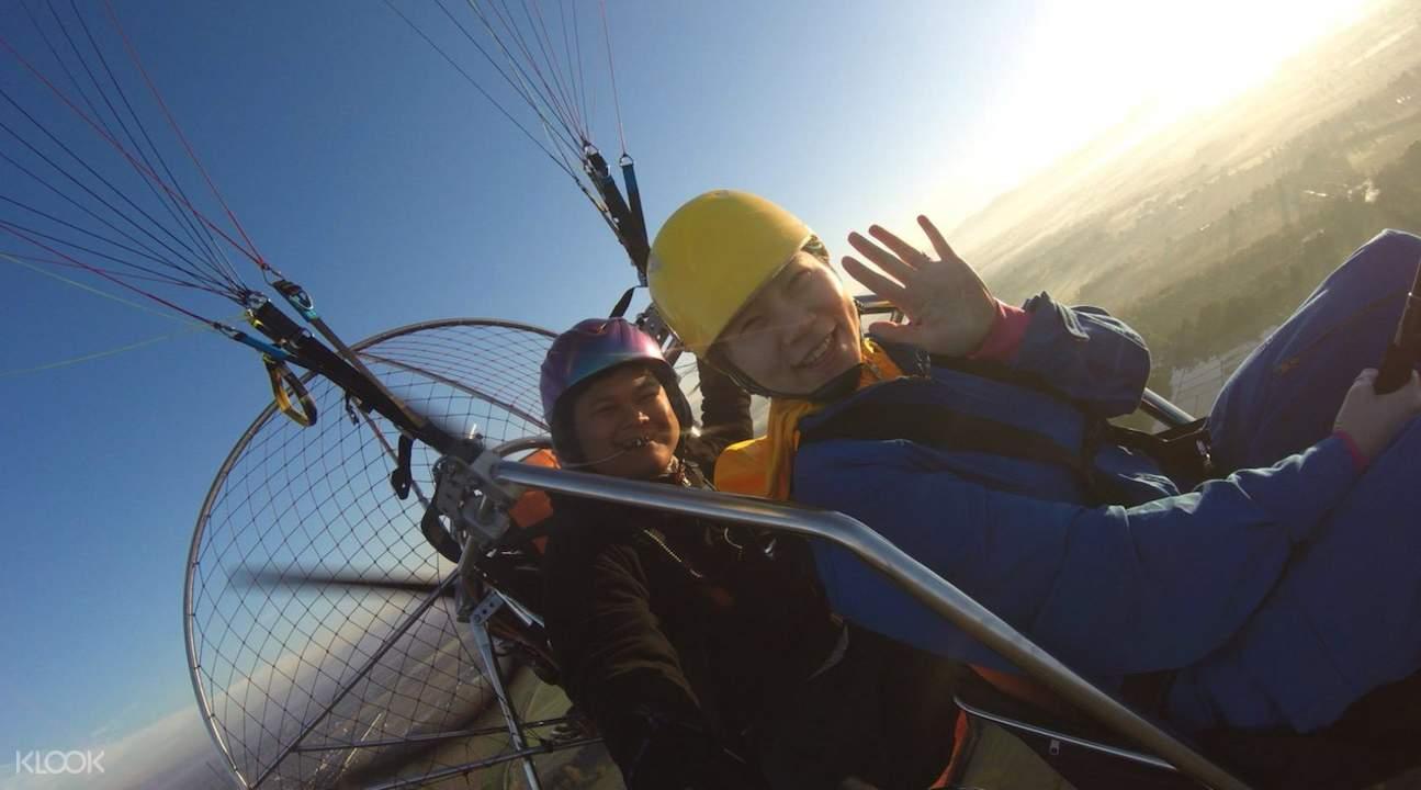 selfie paraplane ride