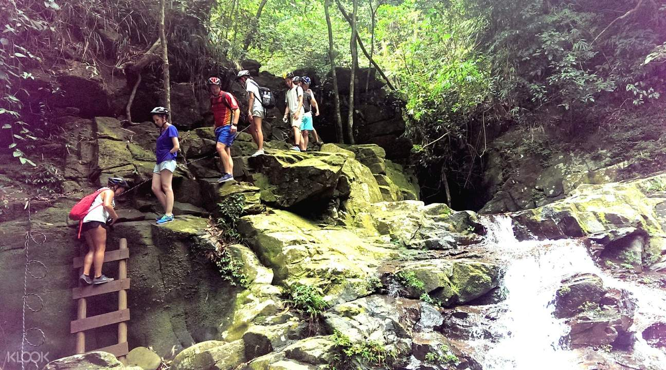 people trekking in bach ma national park