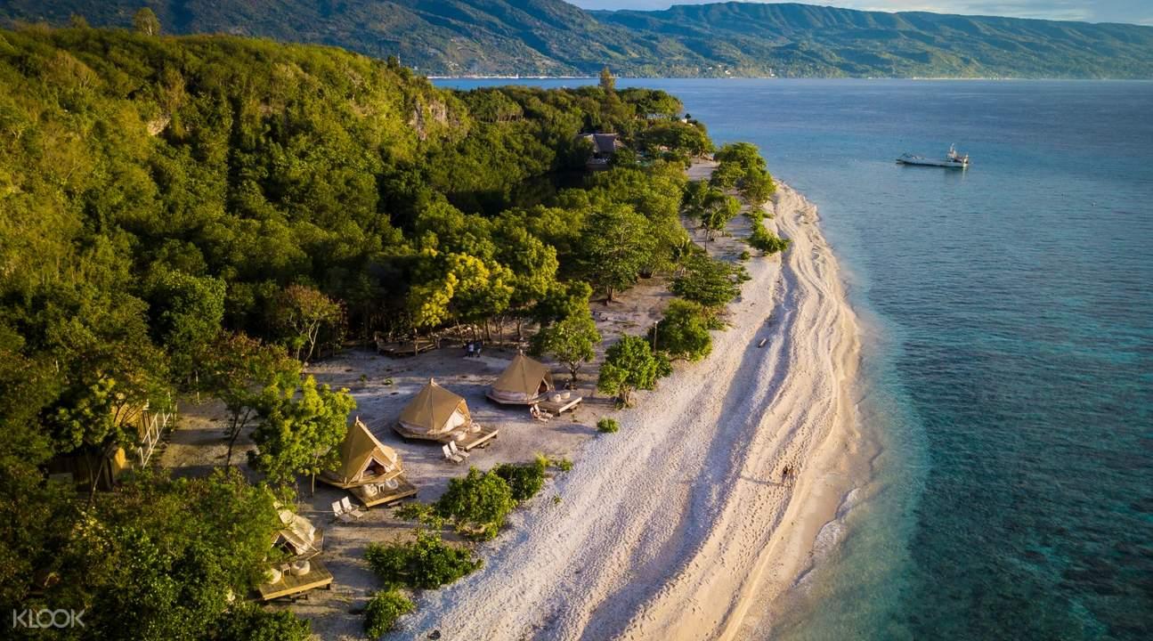 Tropical island aerial shot