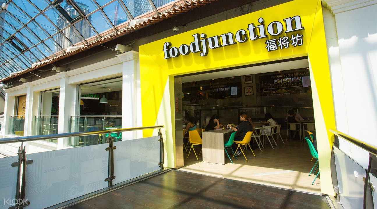 Food Junction in Bugis Junction, Great World City, Harbourfront Centre, and Raffles City