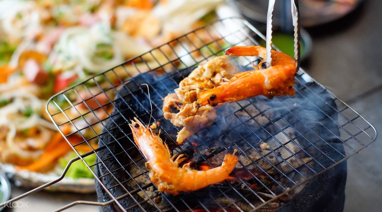 Prawns on grill at Lang Nuong Vietnam in Jalan Besar