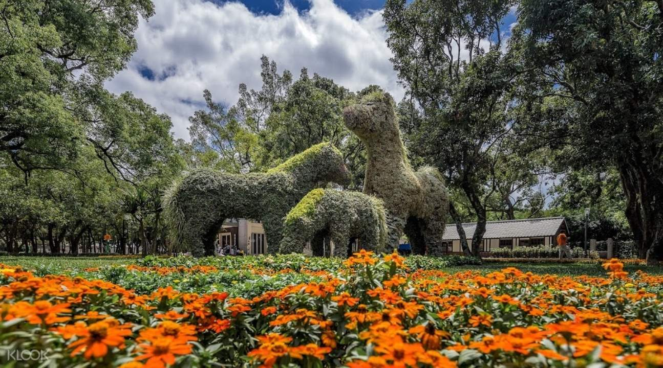 plants engineered to resemble horses in the middle of an orange flowerbed