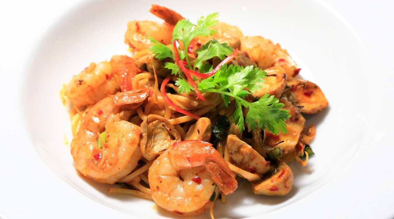 Spaghetti Prawn Tom Yum at 180 Sky Lounge at Grand Swiss Hotel Bangkok