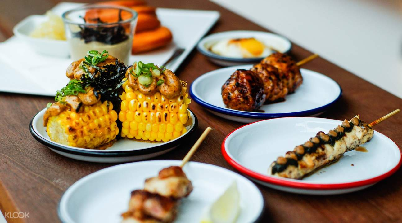 umami corn and assorted yakitori Birders in Outram Park