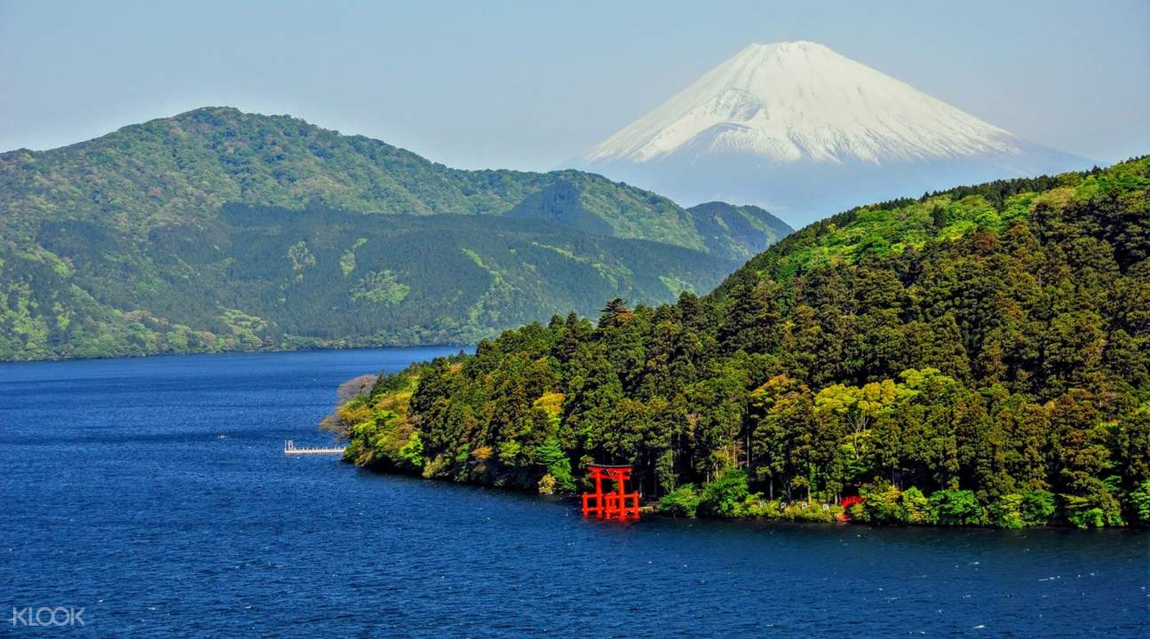 lake ashi with islands and mt. fuji in background