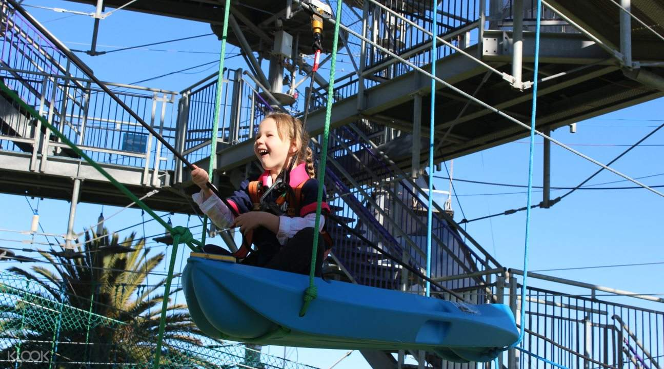 Little girl on boat in Mega Adventure Sky Challenge Experience in Adelaide