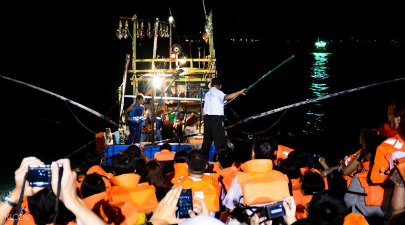 渔港游船夜钓体验