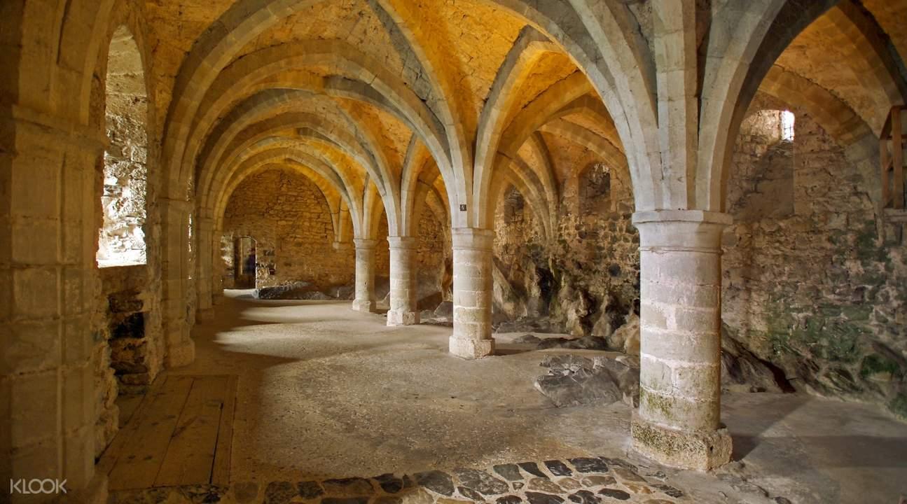 pillars and walls inside Château de Chillon