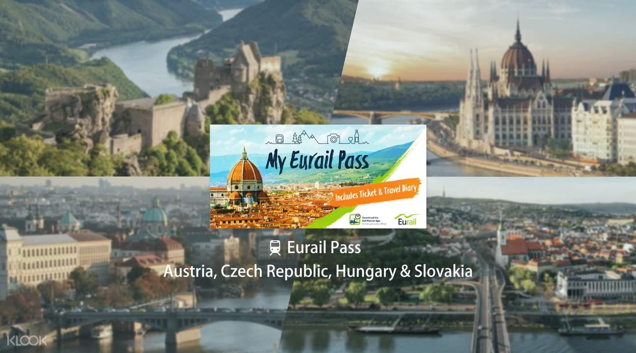 Eurail Pass for Austria, Czech Republic, Hungary & Slovakia (5, 6, 8 or 10 Days)