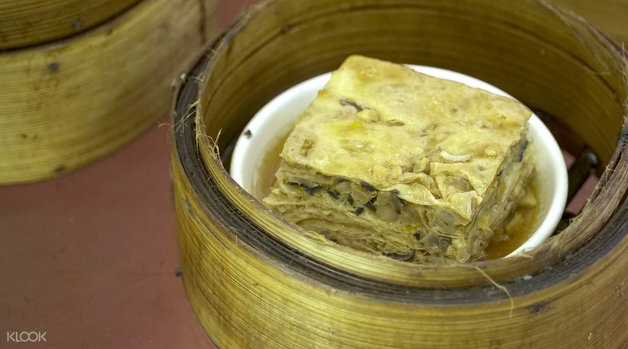Wrapped bean curd skin (cut in halves)