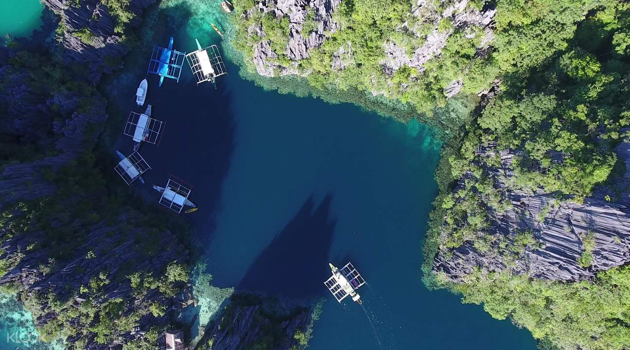 aerial view of boats in twin lagoons