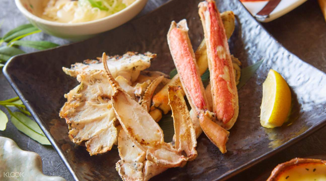 grilled crab with lemon Karin in Namba Osaka Japan