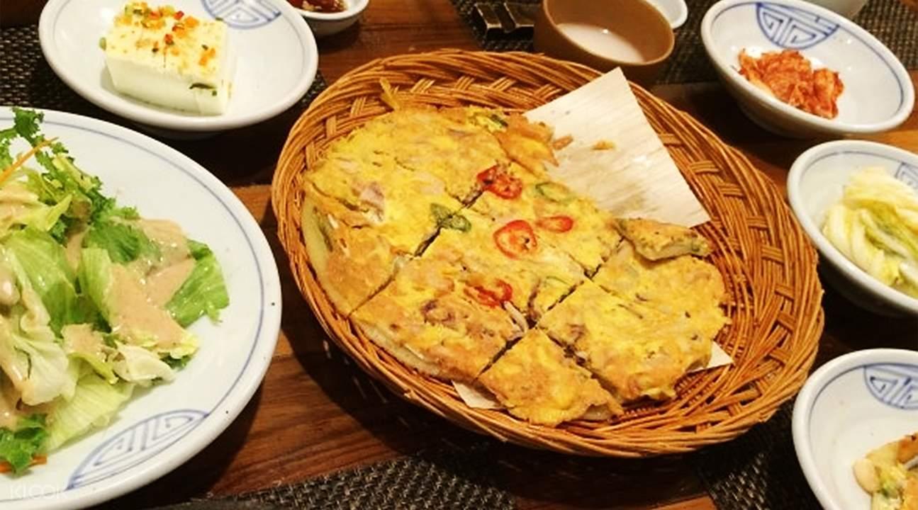 Seafood and Green Onion Pancake Gogung in Myeongdong Seoul South Korea