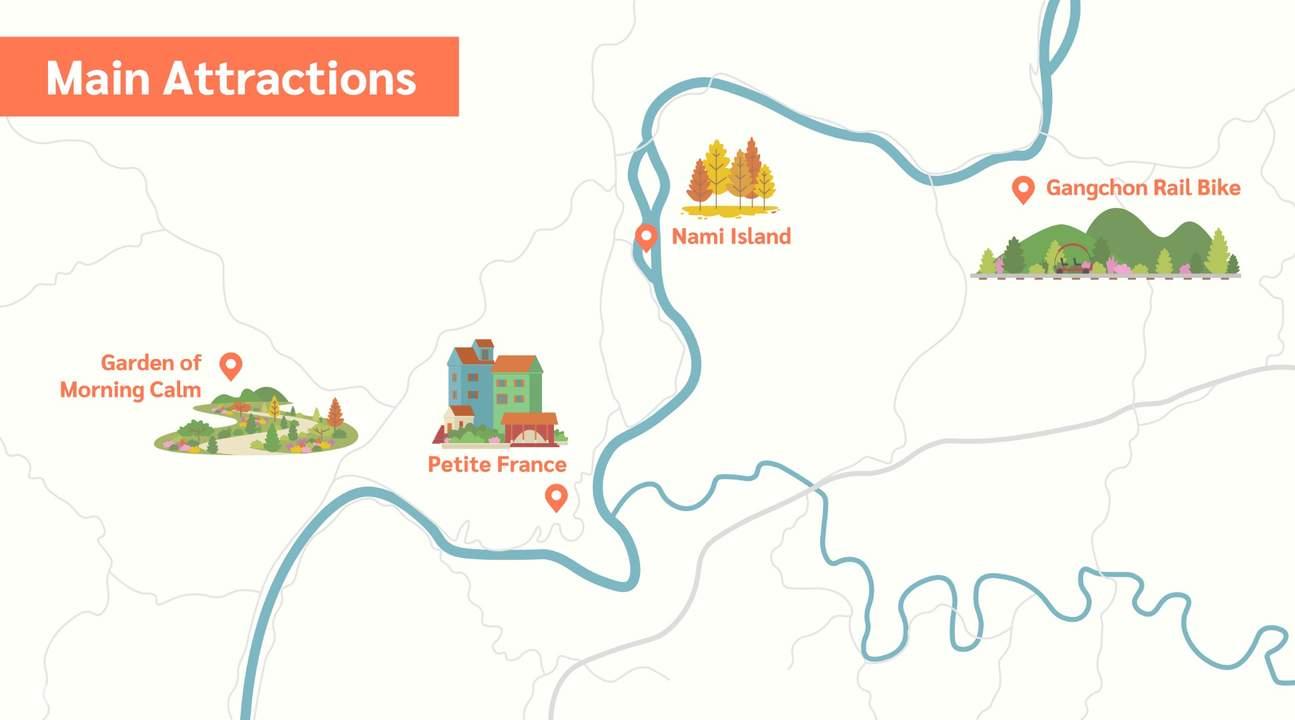 南怡島附近的景點地圖