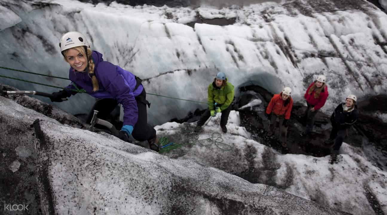 iceland blue ice glacier hike