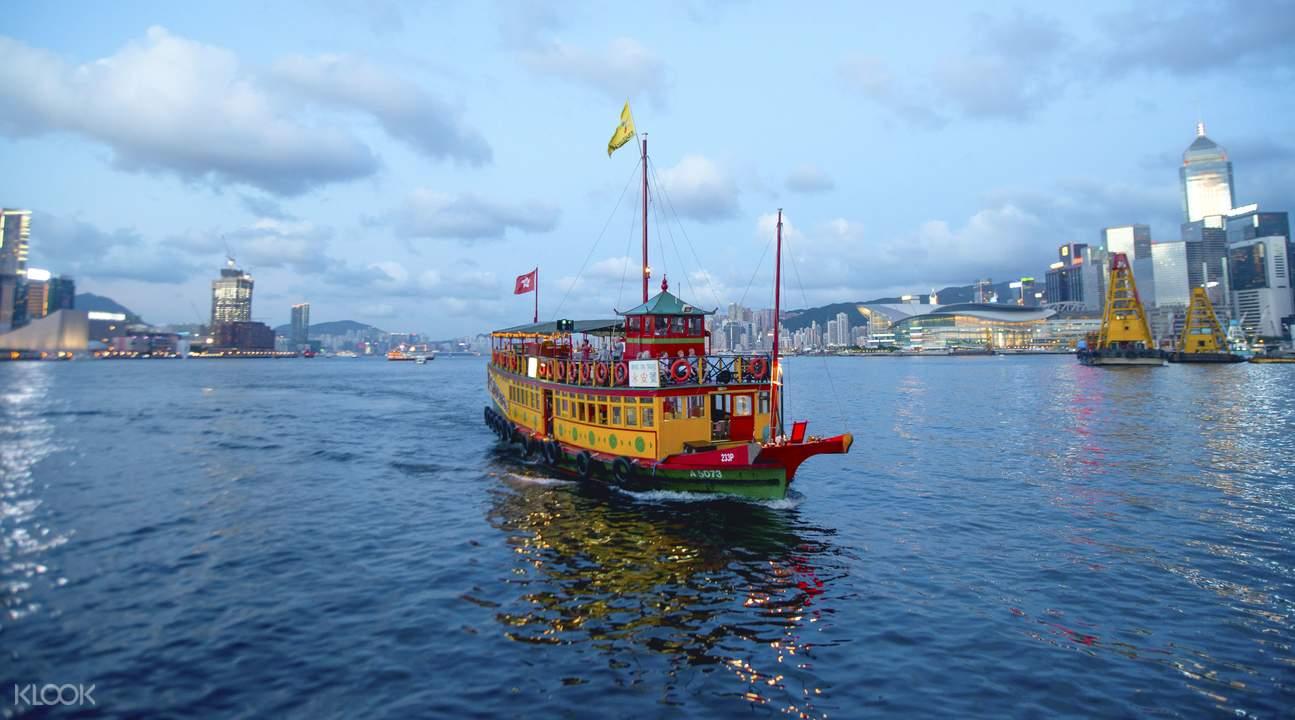 中式观光船夜游维港