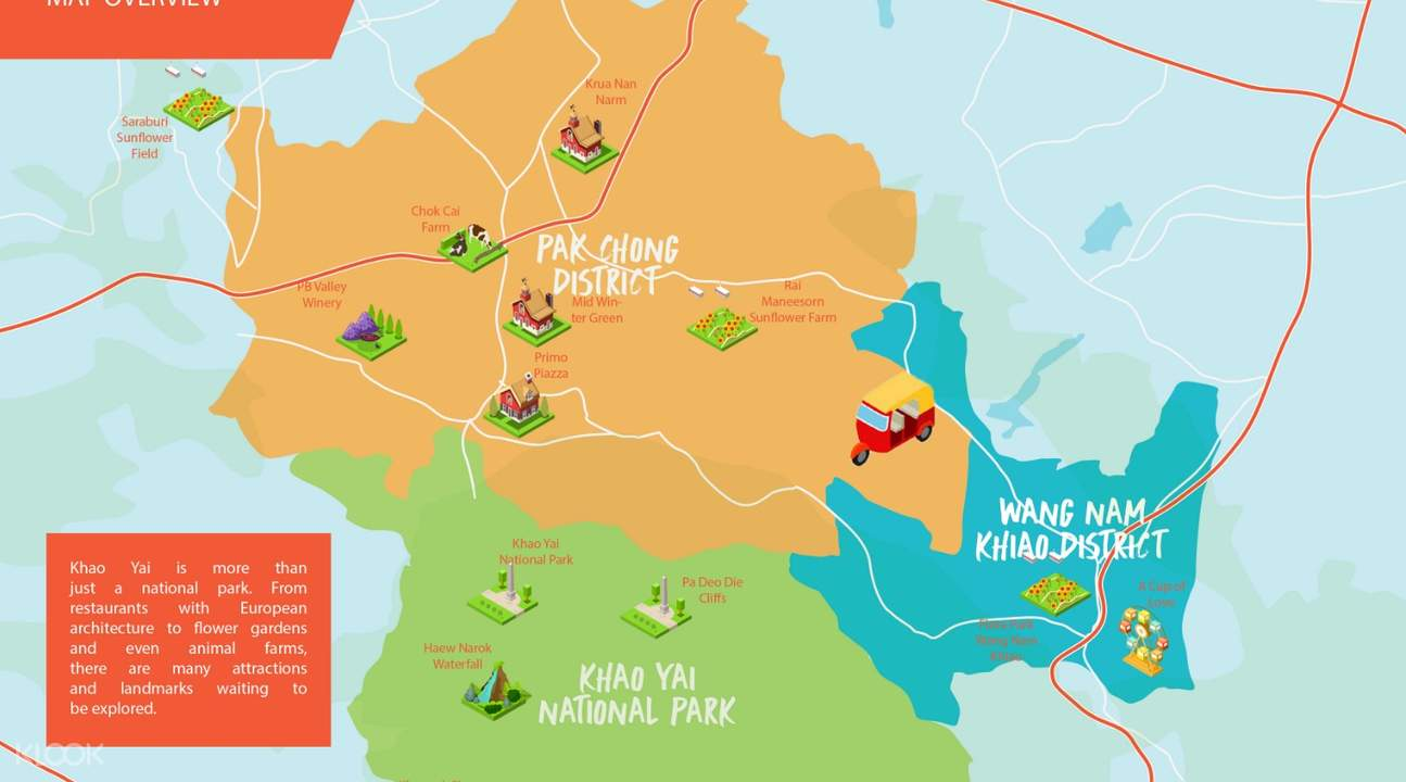 khao yai custom tour map