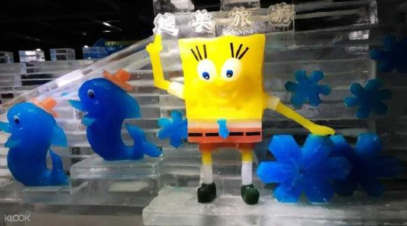 越美冰雪大世界海綿寶寶冰雕